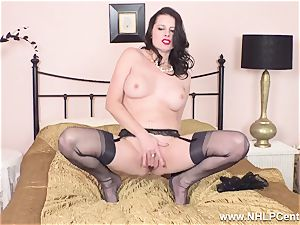 jaw-dropping mummy jerks to ejaculation in sheer nylons garters