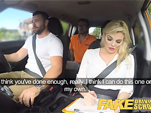 faux Driving school mind-blowing huge-chested posh ash-blonde examiner