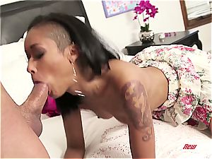 Stepsister's labia makes him jizm two times