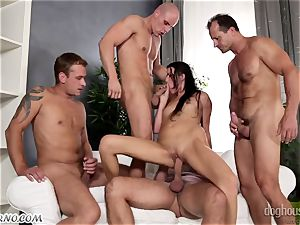 Mass group sex with a youthful bi-atch and 4 folks