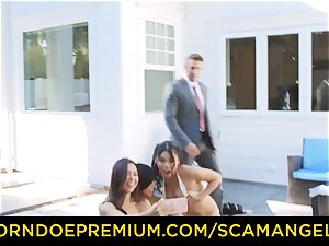 SCAM ANGELS - molten Melissa Moore smashed in mischievous foursome