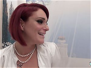 La Cochonne - unexperienced French red-haired in messy ass-fuck fuck