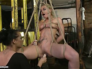 Kathia Nobili and Mandy Bright dildo pummeling stiff
