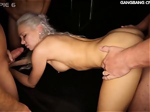 Kacey Jordan gets group-fucked and 8 creampies