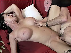 huge-chested grandmother plowing rock hard