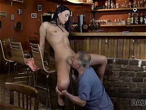 DADDY4K. Angry dude catches senior dad tearing up his good-looking girl