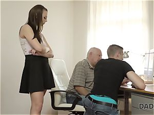 DADDY4K. parent and youthfull gal torrid fuck-fest in sofa culminates with creampie