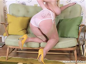 big-boobed blond undresses wanks in vintage undies nylon high-heeled shoes