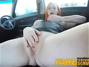 fake Driving college sexy red-haired lusts after gigantic boner