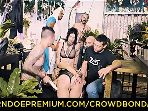 CROWD restrain bondage - big black cock and bdsm torture for Aruna Aghora