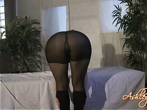 Ashley Fires ash-blonde nymph in black sundress