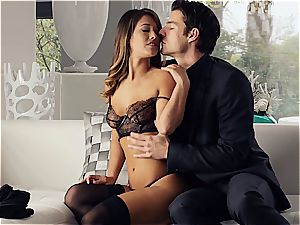 splendid Eva Lovia is instructing her bf some manners before the soiree