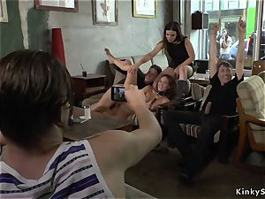 domme maked honey group sex in furniture shop