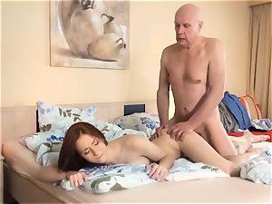 StepDaughter plowed grandpa nubile oral pleasure cum-shot