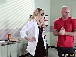 super-fucking-hot doctor Jessa Rhodes checks out this gigantic meatpipe