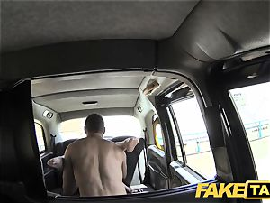 fake cab Cabby attempts luck on scorching blondie with phat titties