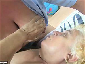 OldNanny grandmother and mature stroked wooly labia