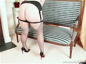 curvy light-haired wanks in grey nylons and high high-heeled slippers
