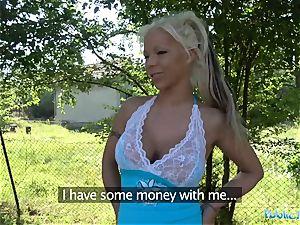 Public Agent sizzling platinum-blonde wifey Barbie Sins plumbs Stranger