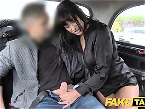 fake cab appetizing super-hot dark-haired loves Czech cock