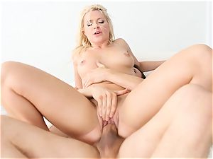 Anikka Albrite gets a faceful of white pearly spunk