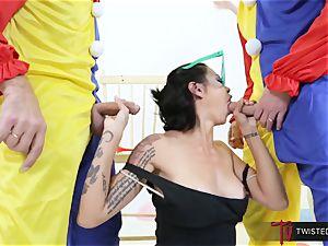 Dana Vespoli pummeled by creepy hefty spunk-pump clowns