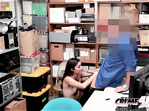 Emily regrets stealing while being boned by ultra-kinky officers large shaft