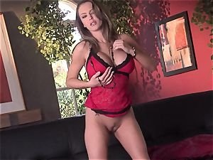 Jenna Presley takes it off slowly to flash off her ginormous knockers and smoking figure